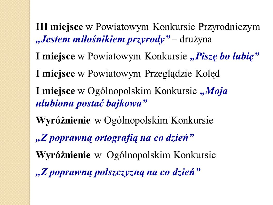 """III miejsce w Powiatowym Konkursie Przyrodniczym """"Jestem miłośnikiem przyrody – drużyna"""