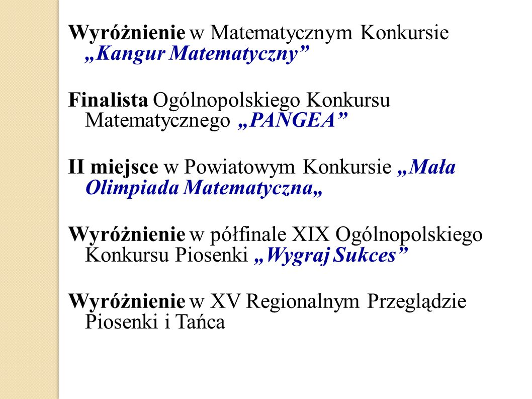 """Wyróżnienie w Matematycznym Konkursie """"Kangur Matematyczny"""