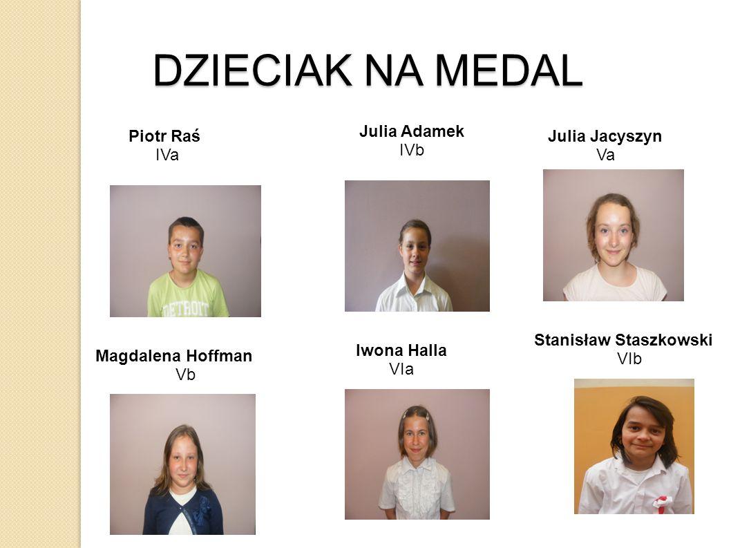 DZIECIAK NA MEDAL Julia Adamek IVb Piotr Raś IVa Julia Jacyszyn Va