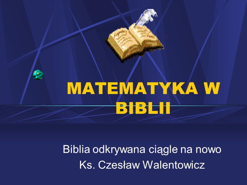 Biblia odkrywana ciągle na nowo Ks. Czesław Walentowicz