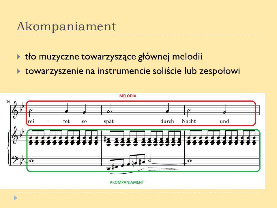 Akompaniament tło muzyczne towarzyszące głównej melodii