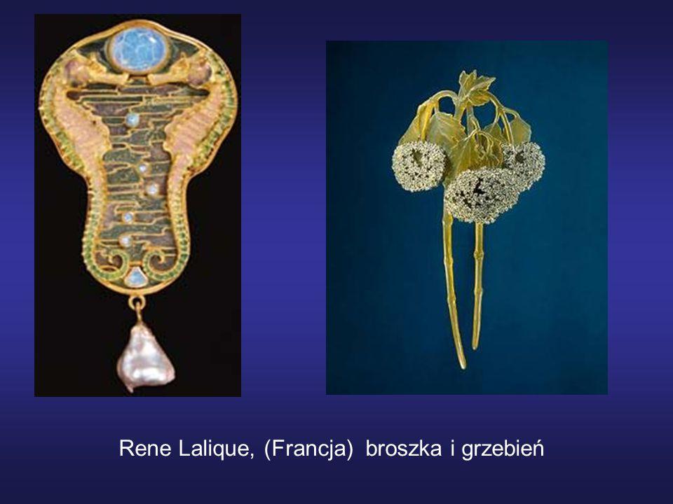 Rene Lalique, (Francja) broszka i grzebień