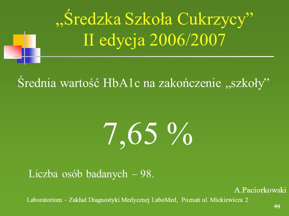 """""""Średzka Szkoła Cukrzycy II edycja 2006/2007"""