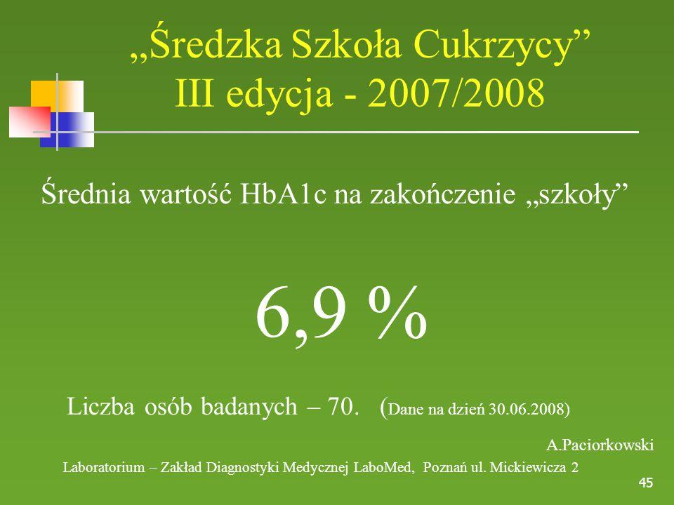 """""""Średzka Szkoła Cukrzycy III edycja - 2007/2008"""