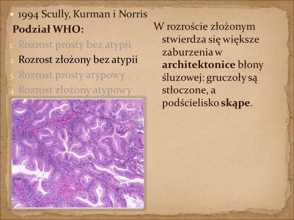 1994 Scully, Kurman i Norris Podział WHO: Rozrost prosty bez atypii. Rozrost złożony bez atypii. Rozrost prosty atypowy.