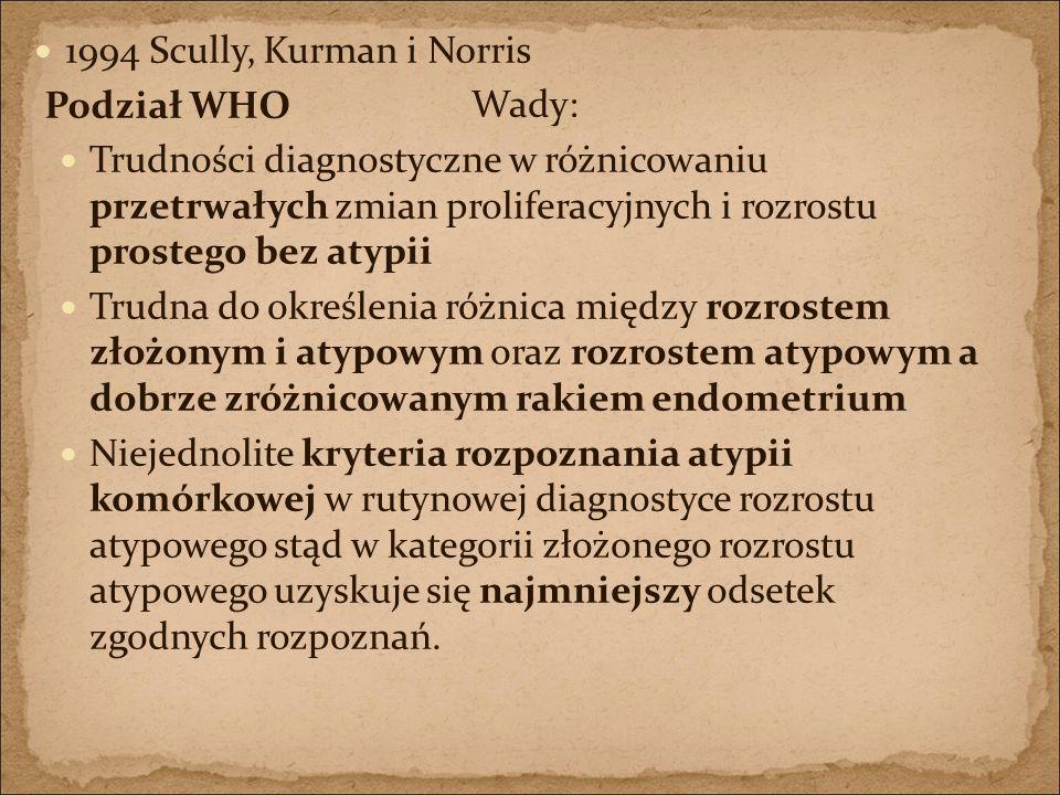 1994 Scully, Kurman i Norris Podział WHO. Wady: