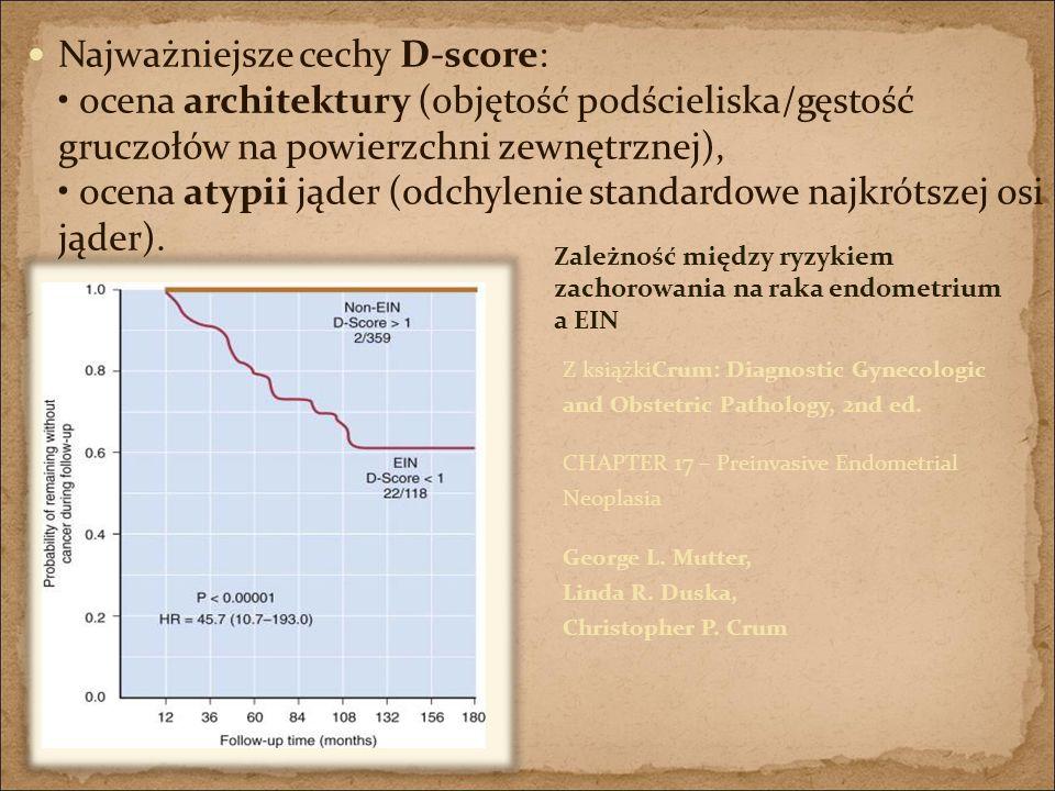 Najważniejsze cechy D-score: • ocena architektury (objętość podścieliska/gęstość gruczołów na powierzchni zewnętrznej), • ocena atypii jąder (odchylenie standardowe najkrótszej osi jąder).