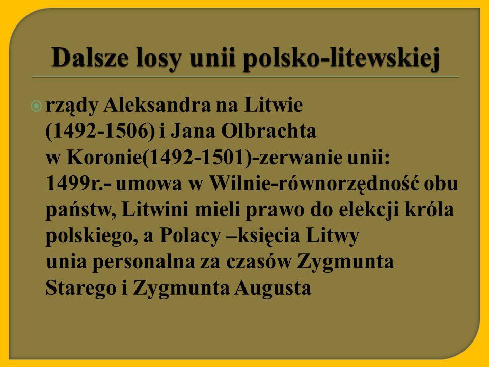 Dalsze losy unii polsko-litewskiej