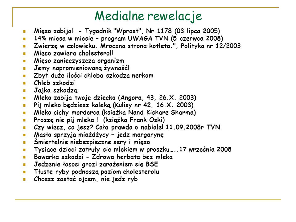 Medialne rewelacje Mięso zabija! - Tygodnik Wprost , Nr 1178 (03 lipca 2005) 14% mięsa w mięsie – program UWAGA TVN (5 czerwca 2008)
