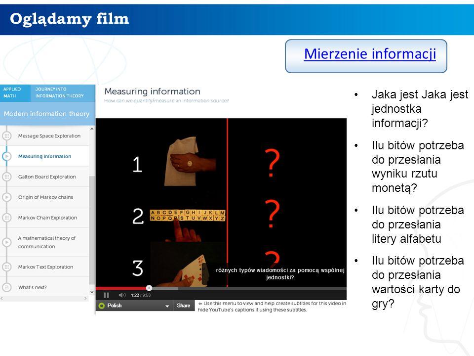 Oglądamy film Mierzenie informacji