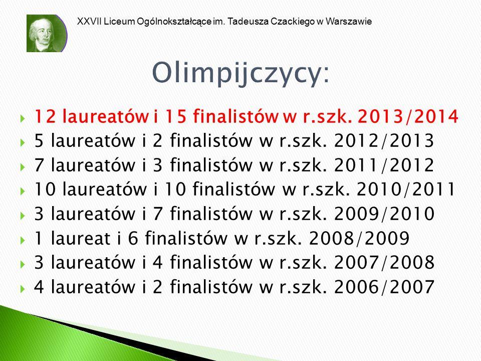 Olimpijczycy: 12 laureatów i 15 finalistów w r.szk. 2013/2014