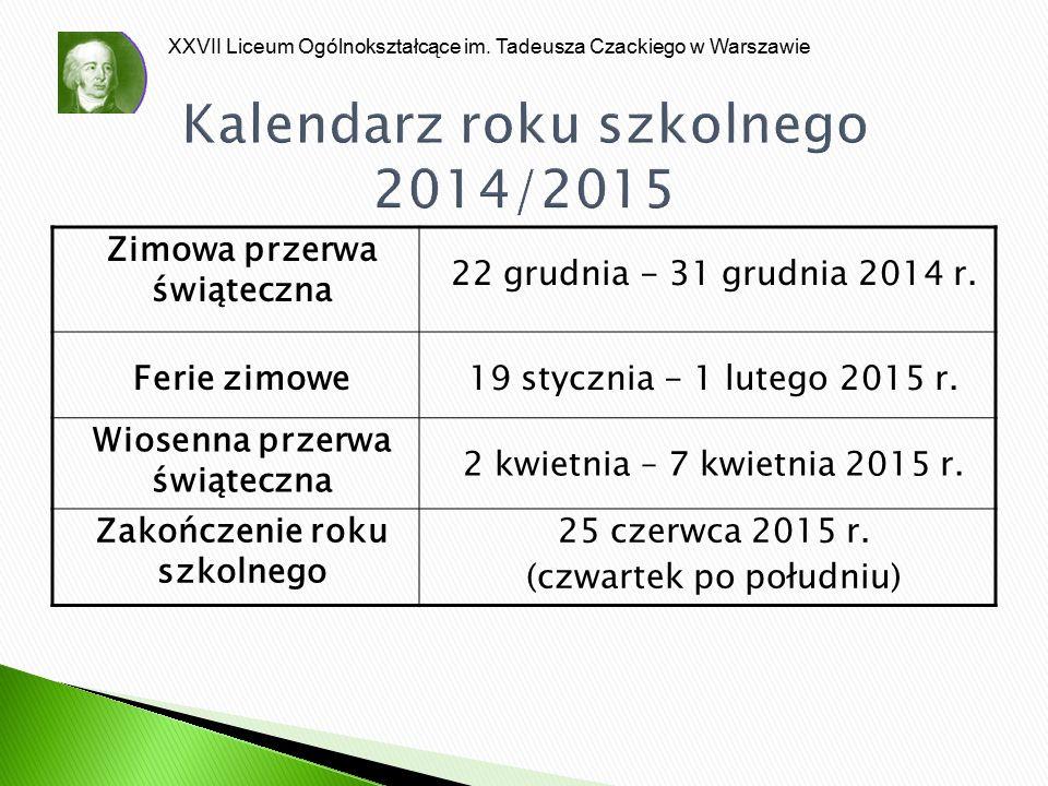 Kalendarz roku szkolnego 2014/2015