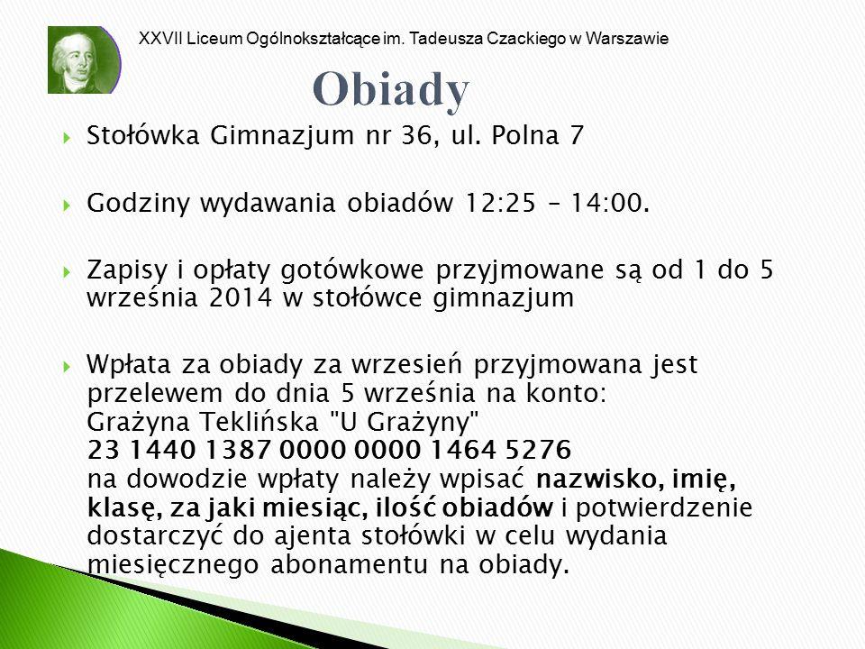 Obiady Stołówka Gimnazjum nr 36, ul. Polna 7