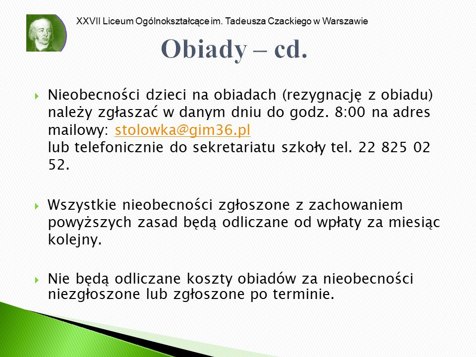 Obiady – cd.