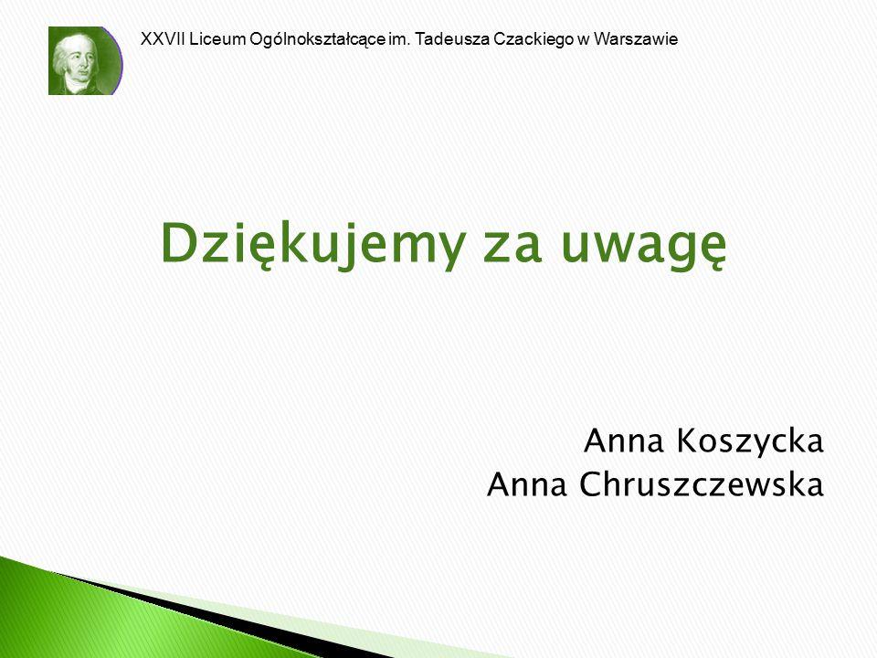 Dziękujemy za uwagę Anna Koszycka Anna Chruszczewska