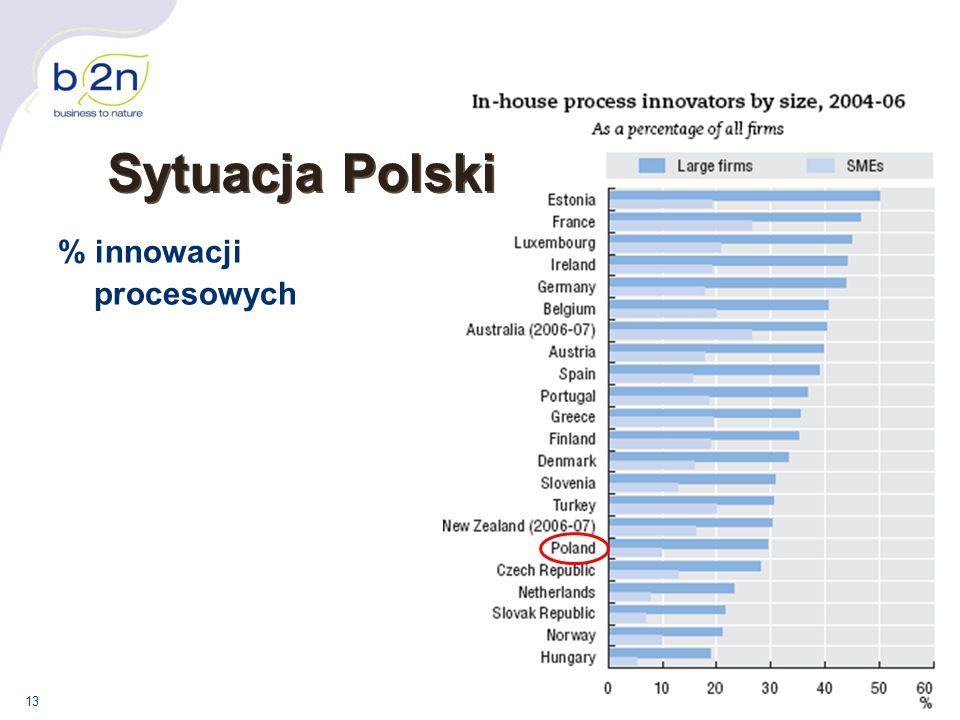Sytuacja Polski % innowacji procesowych