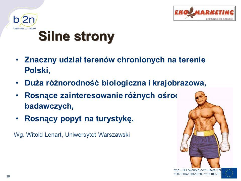 Silne strony Znaczny udział terenów chronionych na terenie Polski,