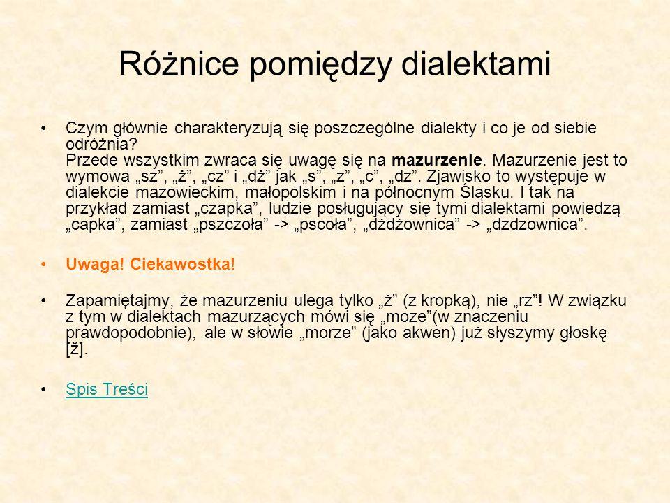 Różnice pomiędzy dialektami