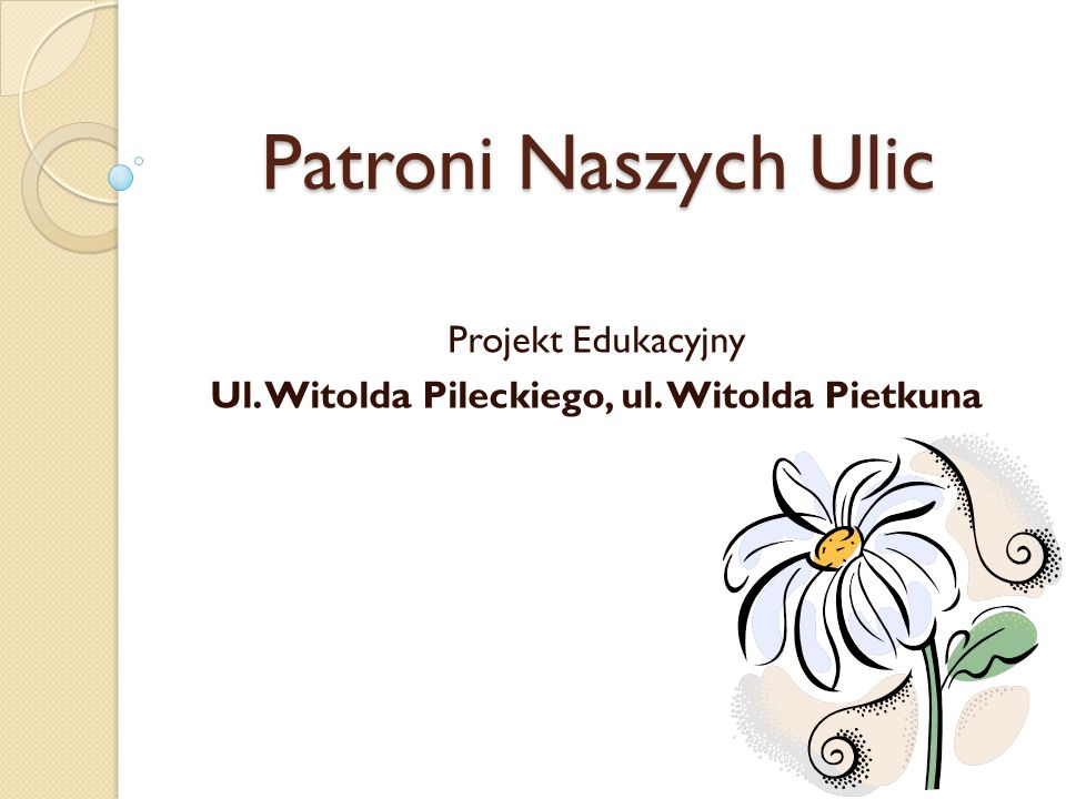 Projekt Edukacyjny Ul. Witolda Pileckiego, ul. Witolda Pietkuna