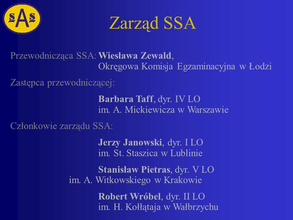 Zarząd SSA Przewodnicząca SSA: Wiesława Zewald, Okręgowa Komisja Egzaminacyjna w Łodzi. Zastępca przewodniczącej: