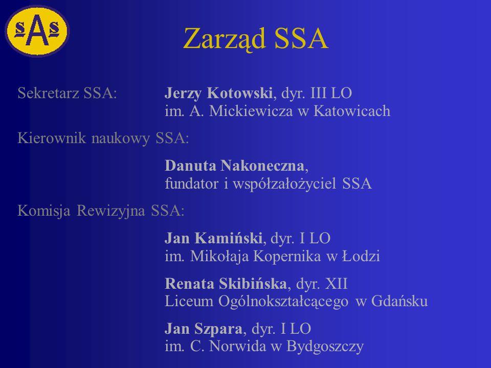 Zarząd SSA Sekretarz SSA: Jerzy Kotowski, dyr. III LO im. A. Mickiewicza w Katowicach. Kierownik naukowy SSA: