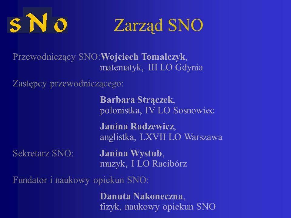 Zarząd SNO Przewodniczący SNO:Wojciech Tomalczyk, matematyk, III LO Gdynia. Zastępcy przewodniczącego:
