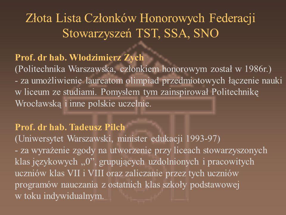 Złota Lista Członków Honorowych Federacji Stowarzyszeń TST, SSA, SNO
