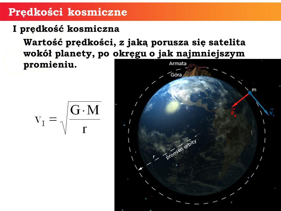 Prędkości kosmiczne I prędkość kosmiczna Wartość prędkości, z jaką porusza się satelita wokół planety, po okręgu o jak najmniejszym promieniu.