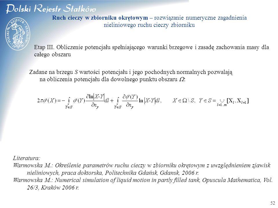 Ruch cieczy w zbiorniku okrętowym – rozwiązanie numeryczne zagadnienia nieliniowego ruchu cieczy zbiorniku