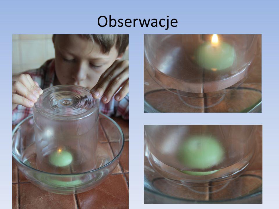 Obserwacje Po kilku sekundach świeca gaśnie. Oznacza to, że został wykorzystany cały tlen znajdujący się w powietrzu wypełniającym pojemnik.