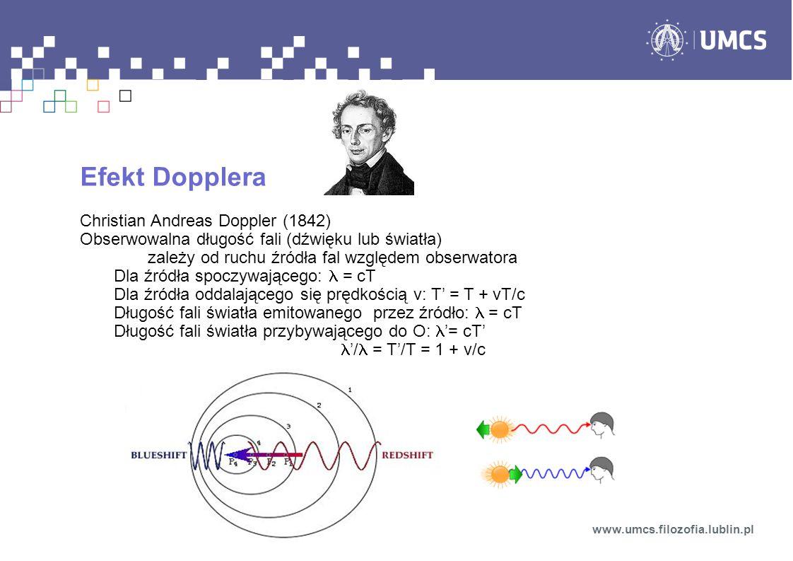 Efekt Dopplera Christian Andreas Doppler (1842)
