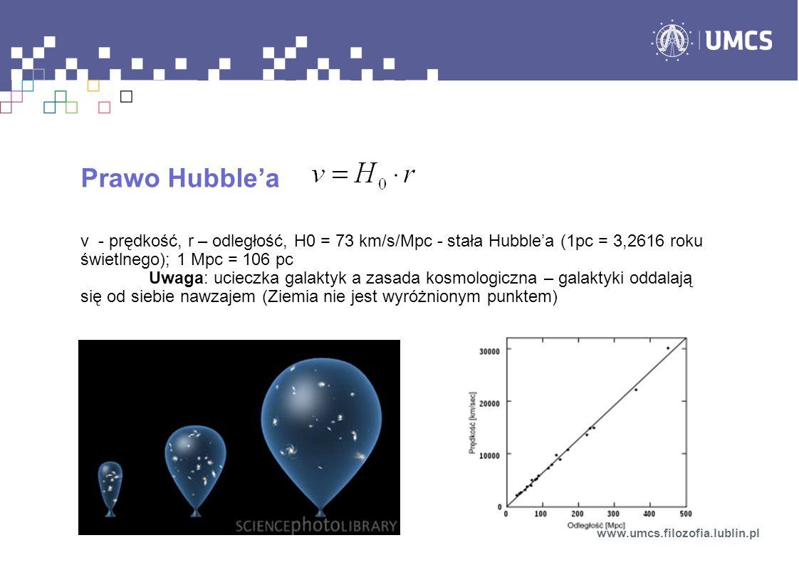 Prawo Hubble'a v - prędkość, r – odległość, H0 = 73 km/s/Mpc - stała Hubble'a (1pc = 3,2616 roku świetlnego); 1 Mpc = 106 pc.