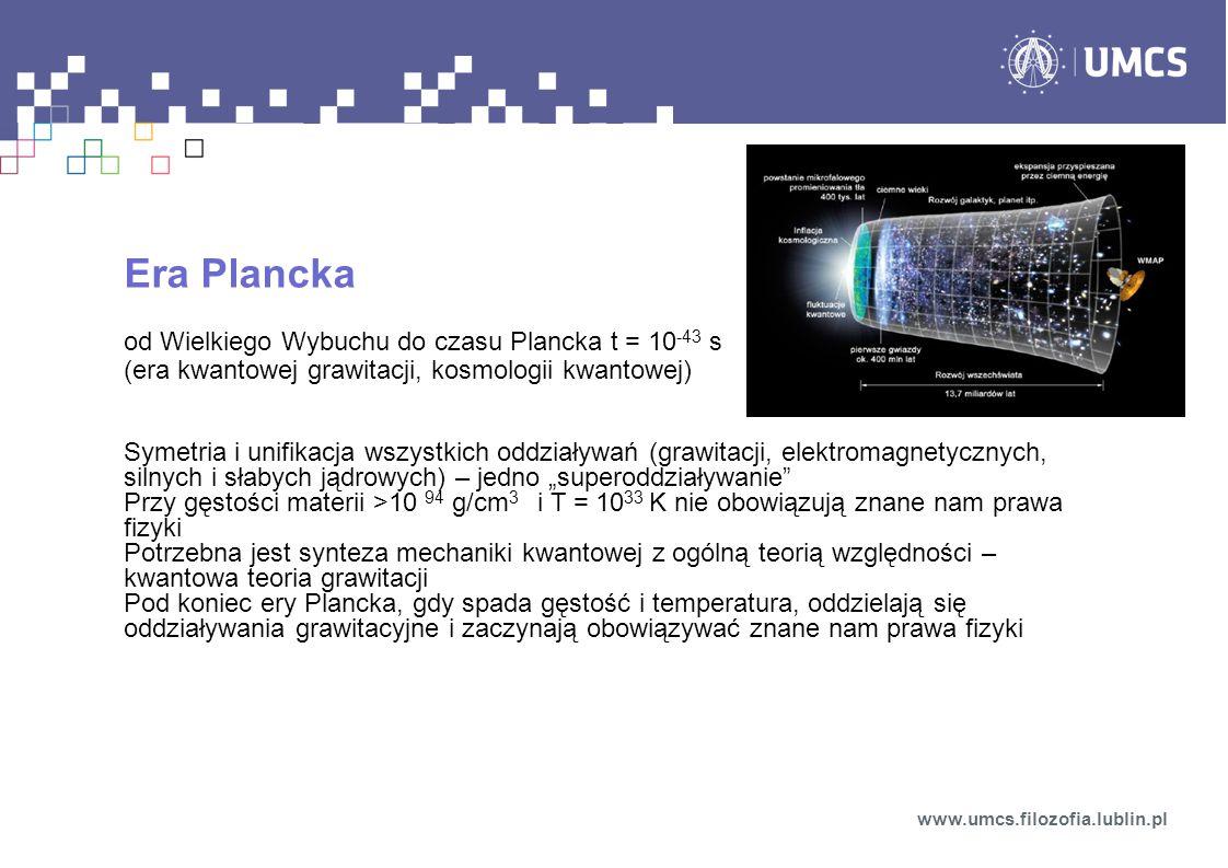 Era Plancka od Wielkiego Wybuchu do czasu Plancka t = 10-43 s (era kwantowej grawitacji, kosmologii kwantowej)