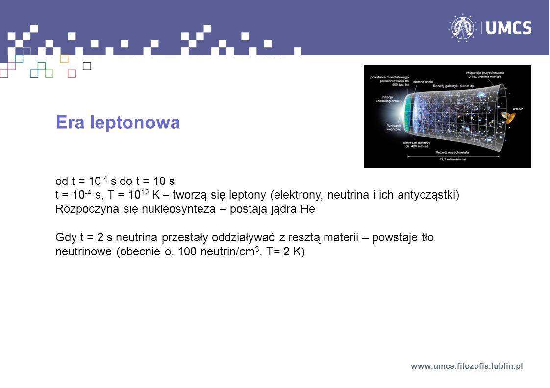 Era leptonowa od t = 10-4 s do t = 10 s