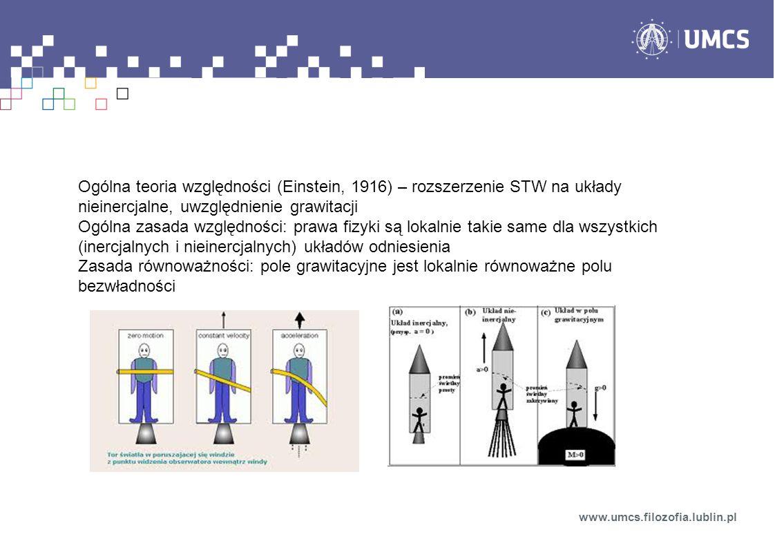 Ogólna teoria względności (Einstein, 1916) – rozszerzenie STW na układy nieinercjalne, uwzględnienie grawitacji