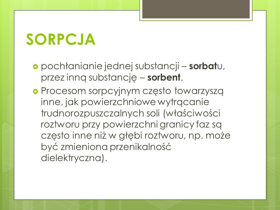 SORPCJA pochłanianie jednej substancji – sorbatu, przez inną substancję – sorbent.