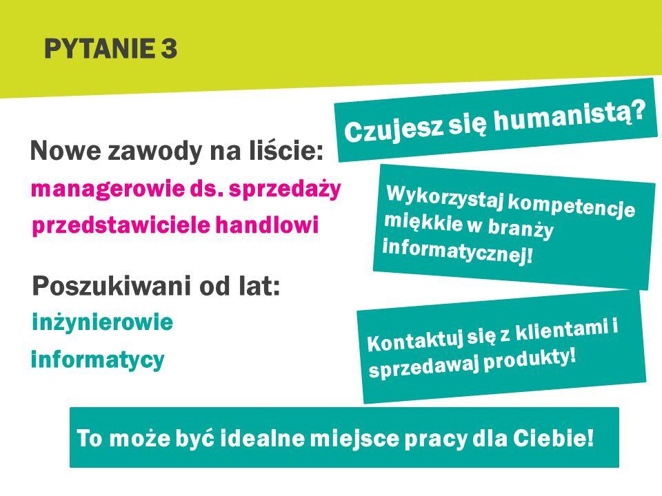 PYTANIE 3 Czujesz się humanistą Nowe zawody na liście: