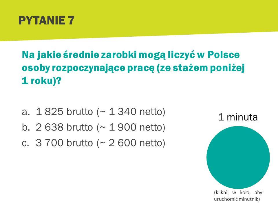 PYTANIE 7 Na jakie średnie zarobki mogą liczyć w Polsce osoby rozpoczynające pracę (ze stażem poniżej 1 roku)