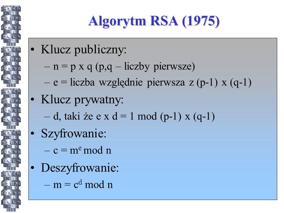 Algorytm RSA (1975) Klucz publiczny: Klucz prywatny: Szyfrowanie: