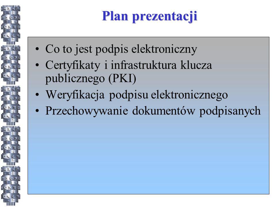 Plan prezentacji Co to jest podpis elektroniczny