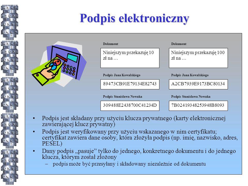Podpis elektroniczny Niniejszym przekazuję 10 zł na … Dokument. Niniejszym przekazuję 100 zł na …