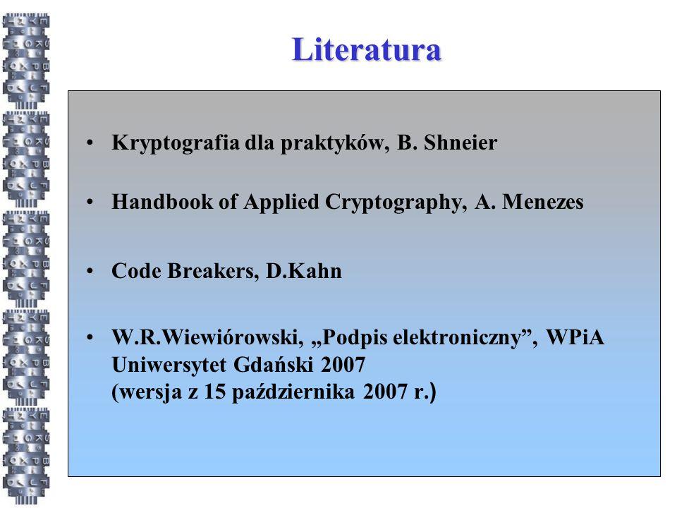 Literatura Kryptografia dla praktyków, B. Shneier