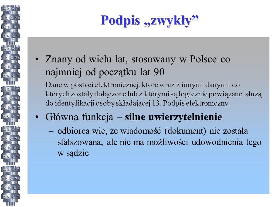 """Podpis """"zwykły Znany od wielu lat, stosowany w Polsce co najmniej od początku lat 90."""