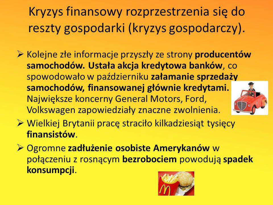 Kryzys finansowy rozprzestrzenia się do reszty gospodarki (kryzys gospodarczy).