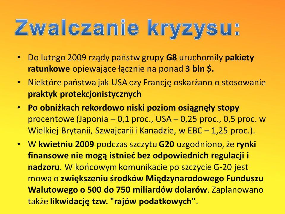 Zwalczanie kryzysu: Do lutego 2009 rządy państw grupy G8 uruchomiły pakiety ratunkowe opiewające łącznie na ponad 3 bln $.