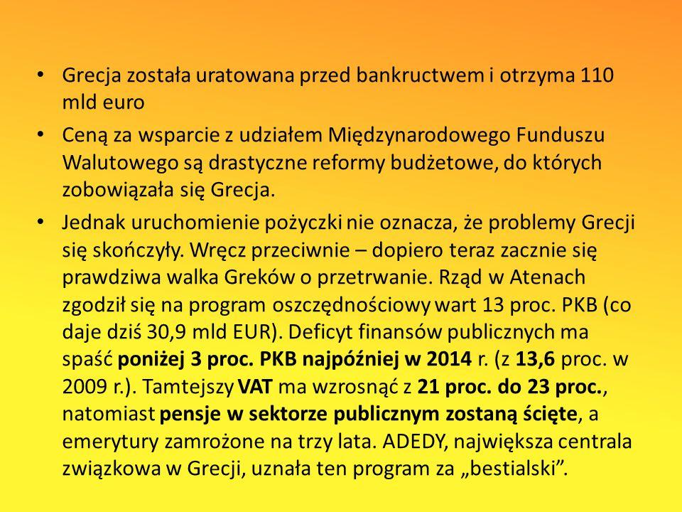 Grecja została uratowana przed bankructwem i otrzyma 110 mld euro