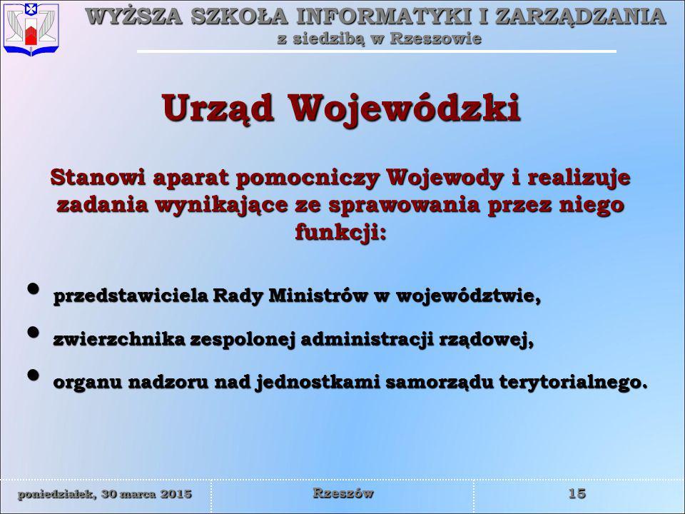 Urząd Wojewódzki Stanowi aparat pomocniczy Wojewody i realizuje zadania wynikające ze sprawowania przez niego funkcji: