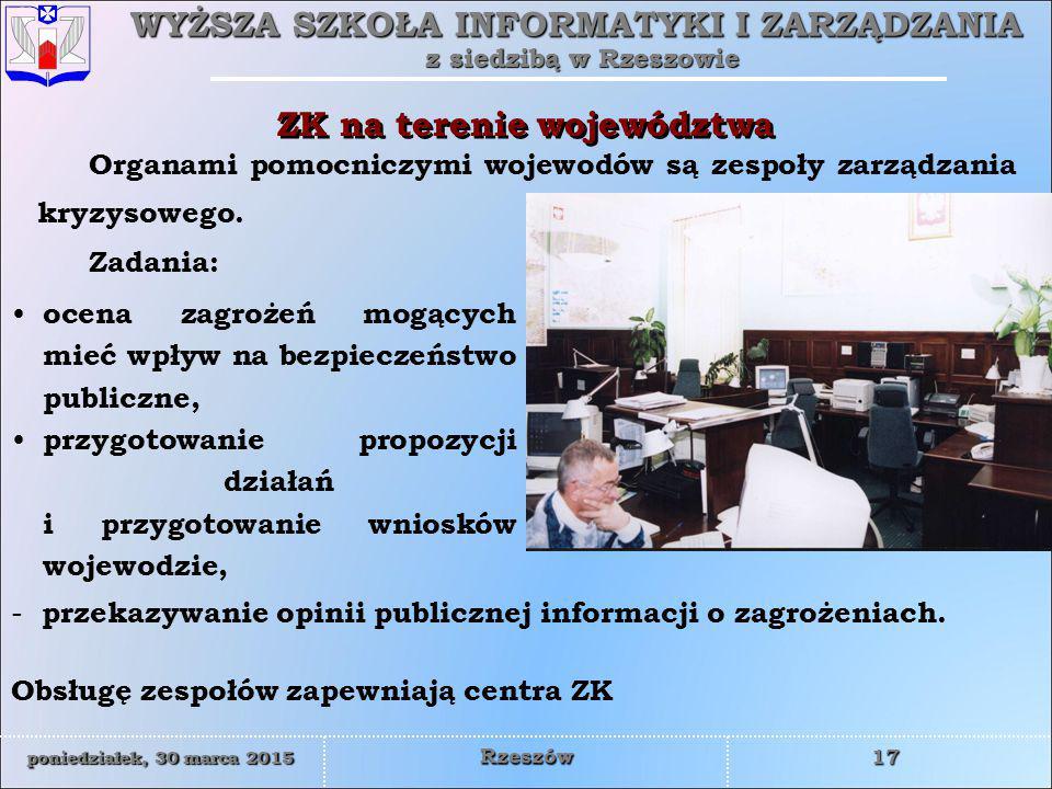 ZK na terenie województwa