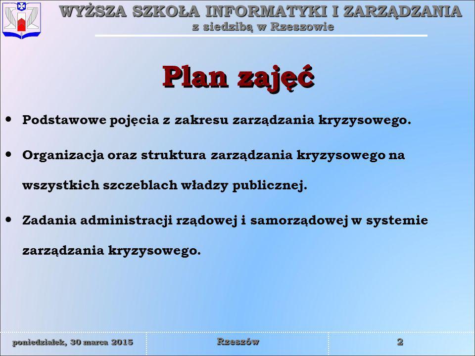 Plan zajęć Podstawowe pojęcia z zakresu zarządzania kryzysowego.