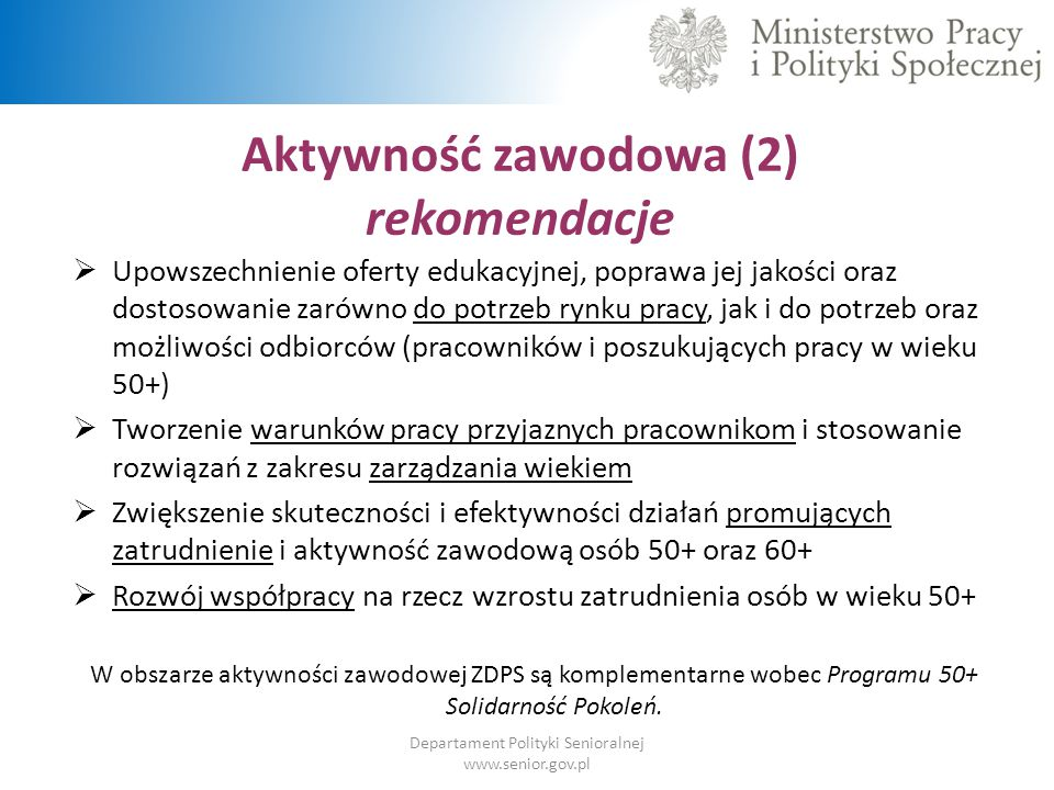 Departament Polityki Senioralnej www.senior.gov.pl